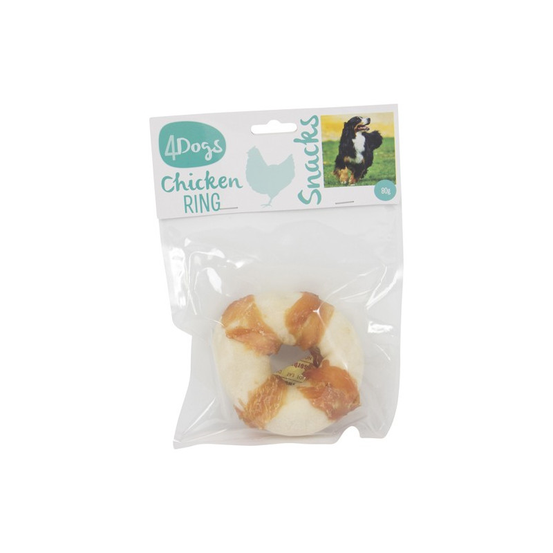 4dogs Chicken and Rawhide Ring Wraps, 80g