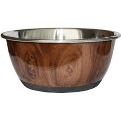 Matskål rosfritt stål trämönster 500ML